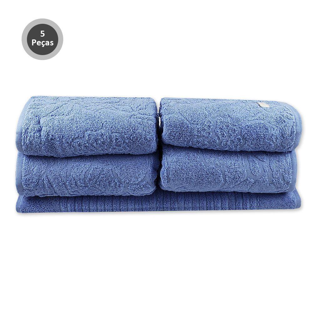 Jogo de Toalhas de Banho 5peças Mosaico Azul Buddemeyer