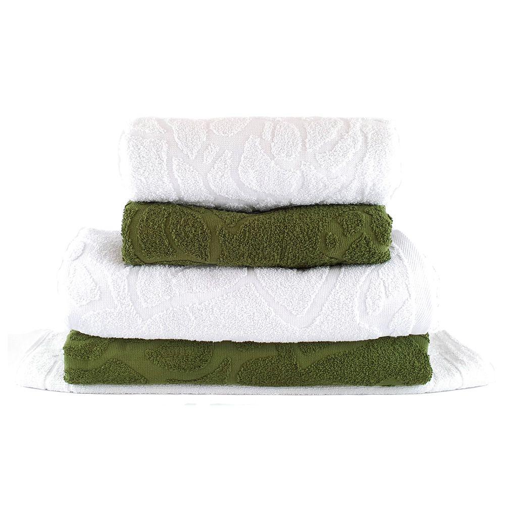 Jogo de Toalhas de Banho Prime Verde e Branco 5 pçs - Sisa