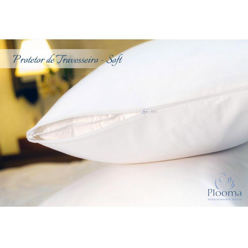 Kit 1 Travesseiro de Penas e Plumas de Ganso + 1 Capa Protetora Plooma