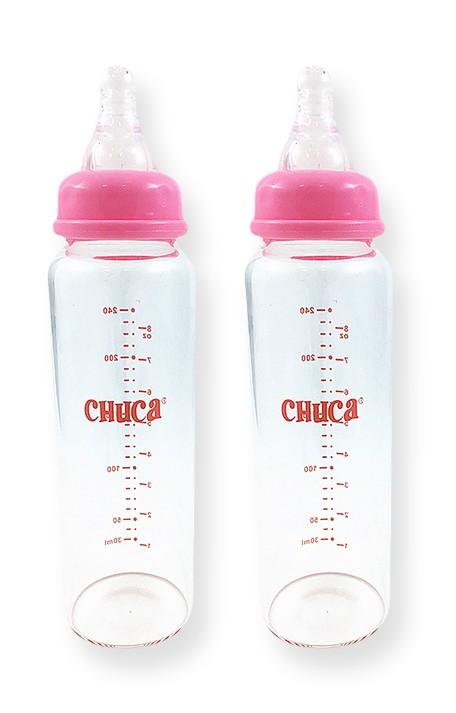 Kit 2 Mamadeiras Vidro 240ml Bico Silicone Chuca Baby - Rosa