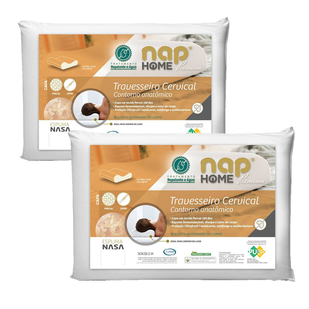 Kit 2 Travesseiros Cervical Nasa Premium Nap Home Capa Impermeável