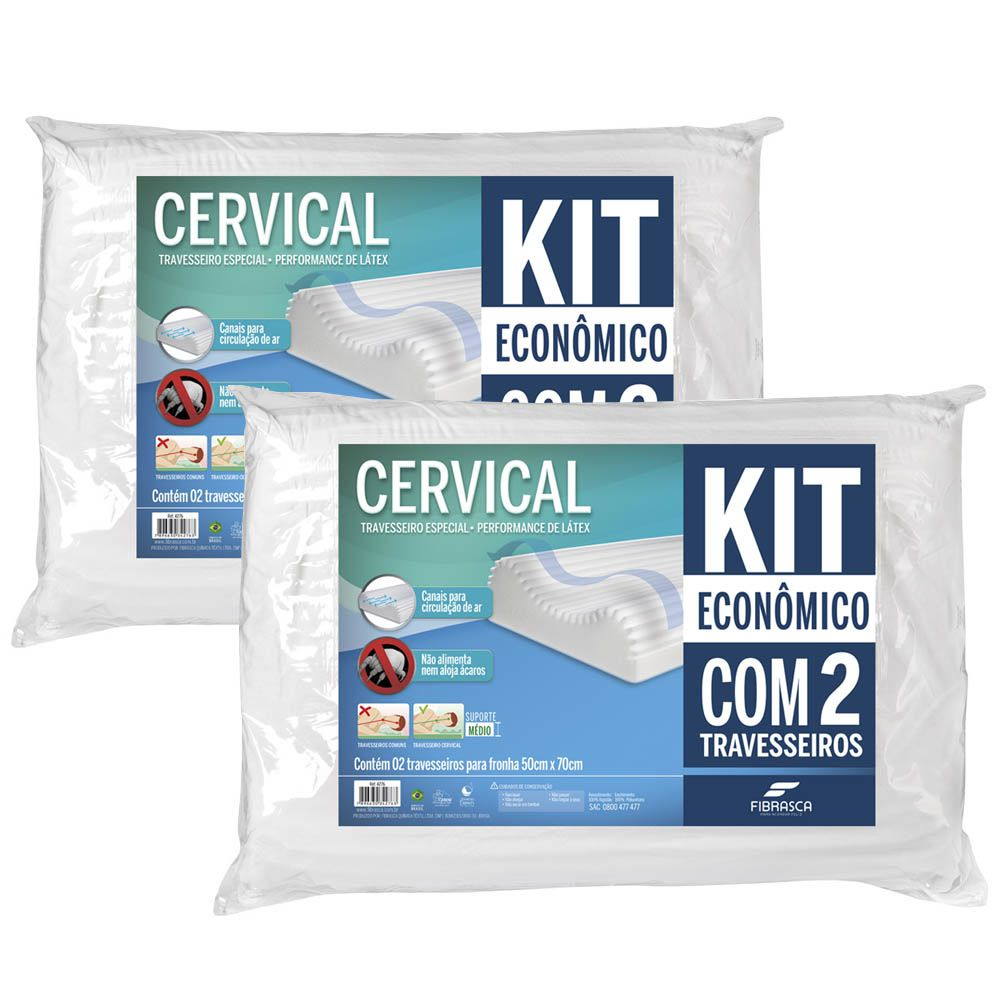 Kit 2 Travesseiros Cervical Performance de Látex - Fibrasca