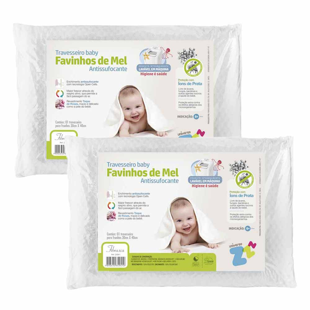 Kit 2 Travesseiros Favinhos de Mel + 1 Kit com 2 Capas Protetoras Baby Plooma