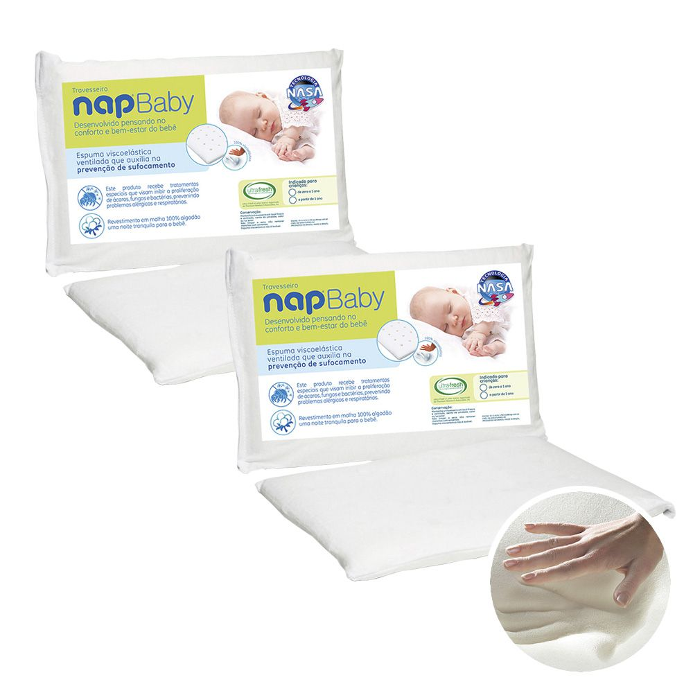 Kit 2 Travesseiros Infantil Nasa Nap Baby RN Hipoalergênico