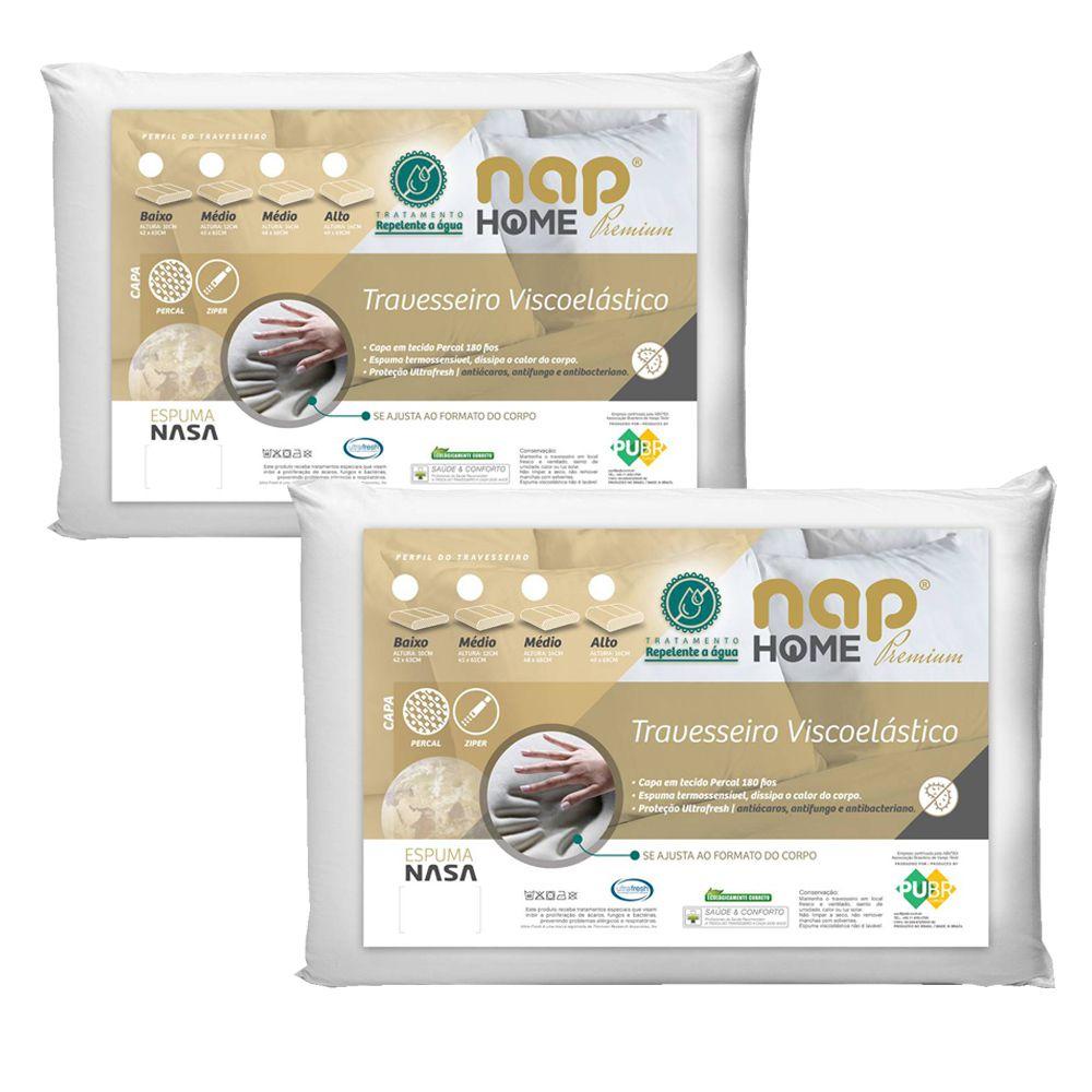 Kit 2 Travesseiros Nasa Premium Nap Home Capa Impermeável - Altura 16cm