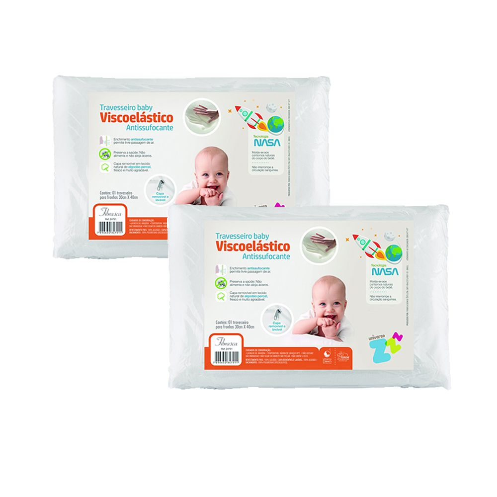 Kit 2 Travesseiros Nasa Baby Antissufocante Capa Removível Fibrasca