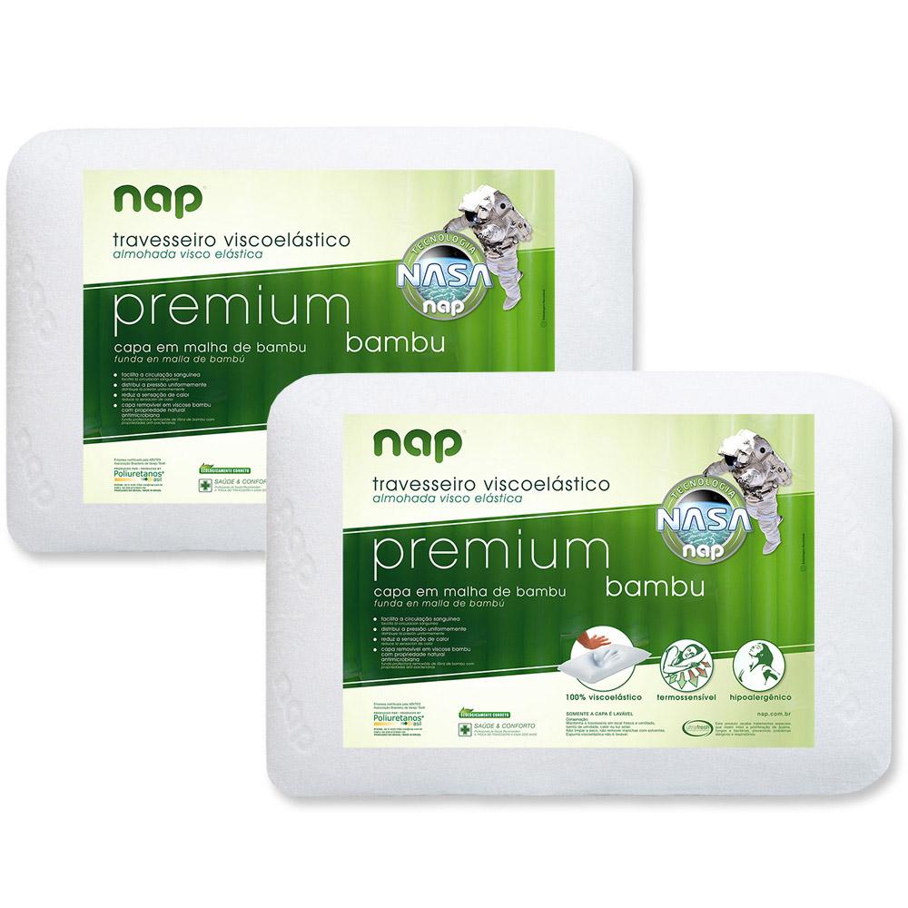Kit 2 Travesseiros Nasa Nap Premium Bambu Hipoalergênico - Altura 14cm