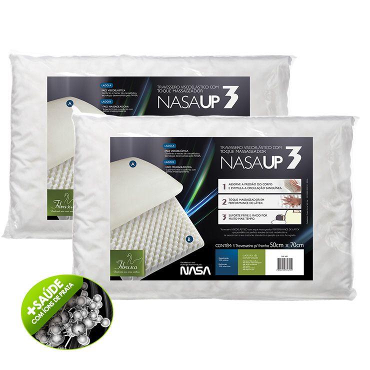 Kit 2 Travesseiros Nasa Up3 capa Íons de Prata - Fibrasca