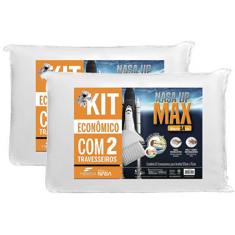 Kit 2 Travesseiros Nasa UP Max Altura 14cm