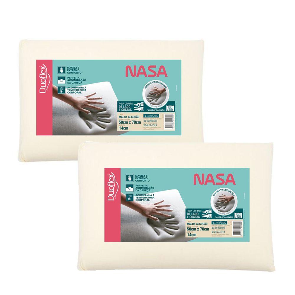 Kit 2 Travesseiros NASA Viscoelástico - 14 cm - Duoflex