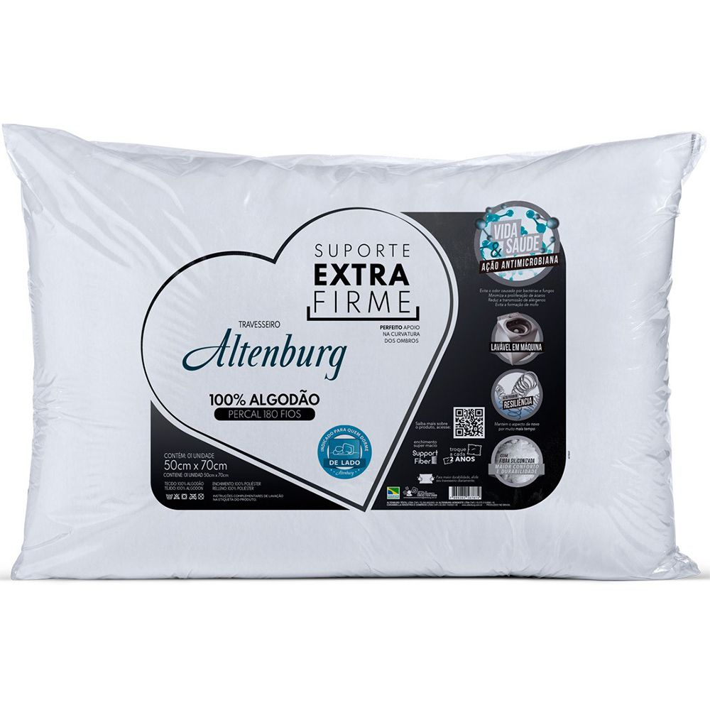 Kit 3 Travesseiros Extra Firme 180 Fios 50x70cm Altenburg