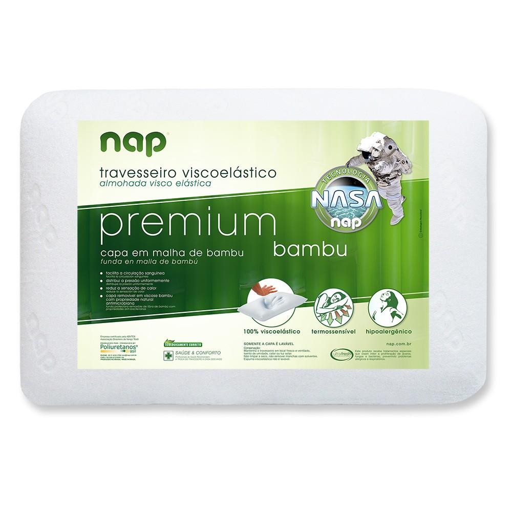 Kit 3 Travesseiros Nasa Nap Premium Bambu Hipoalergênico 14 cm