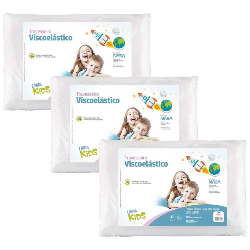 Kit 3 Travesseiros Nasa Visco Kids Infantil Fibrasca