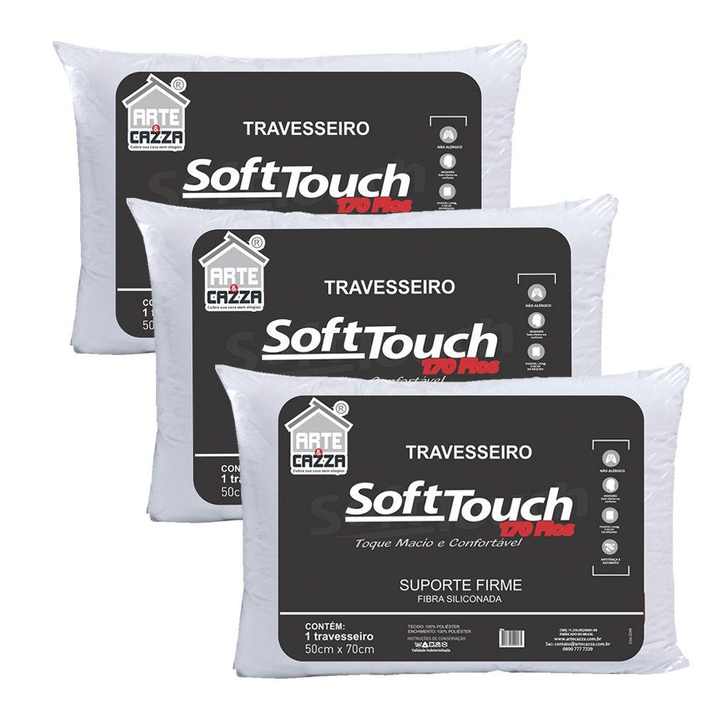 Kit 3 Travesseiros Soft Touch 170 fios - 50x70 Arte e Cazza