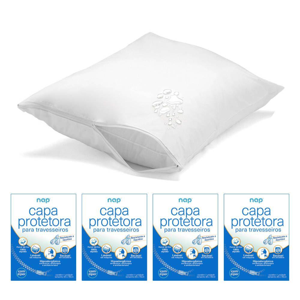 Kit 4 Capas Protetoras de Travesseiro Repelente a líquidos - Nap Home