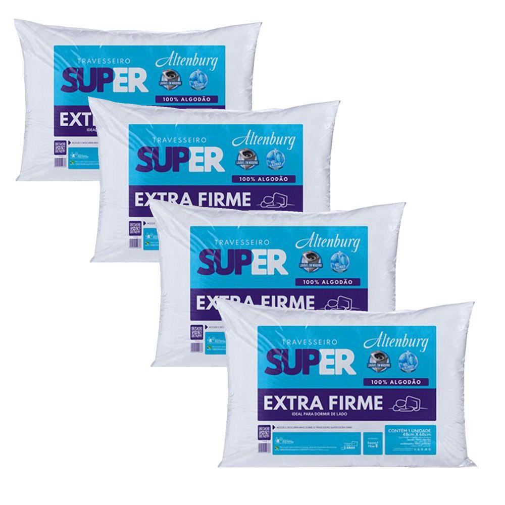 Kit 4 Travesseiros Altenburg Super Extra Firme 100% Algodão - Branco