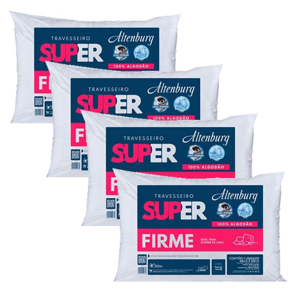 Kit 4 Travesseiros Altenburg Super Firme 100% Algodão - Branco