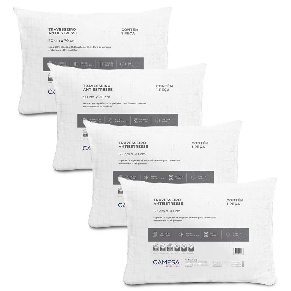 Kit 4 Travesseiros Anti Stress Suporte Firme 50x70cm Camesa