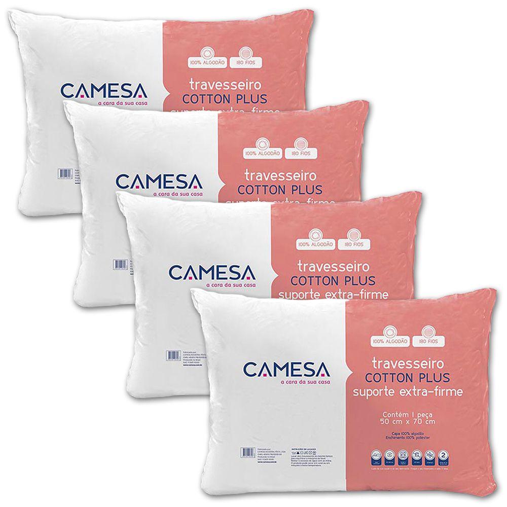 Kit 4 Travesseiros Cotton Plus Extra Firme 180 fios Camesa