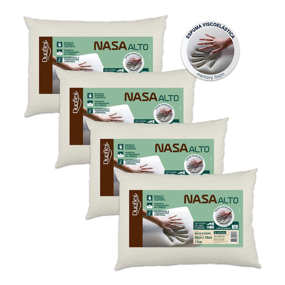 Kit 4 Travesseiros NASA Alto Viscoelástico Duoflex 17cm de Altura