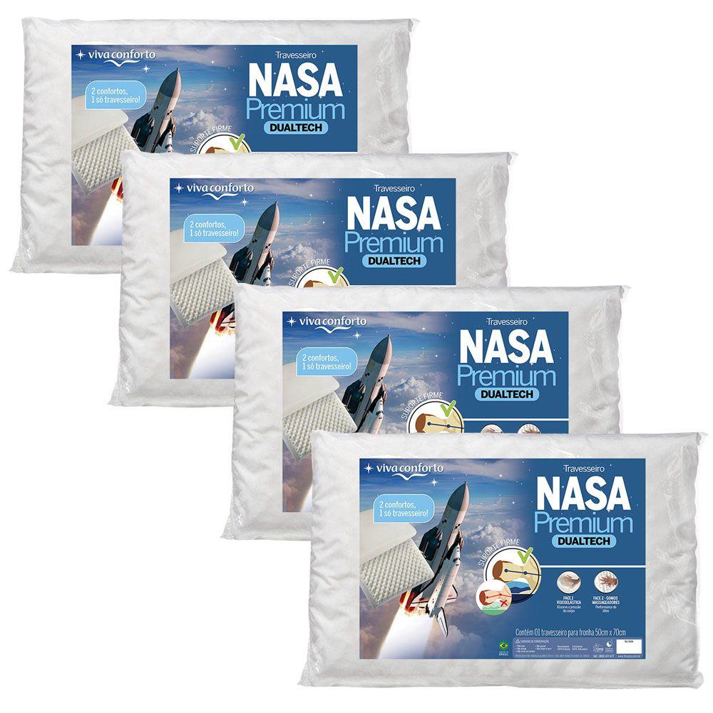 Kit 4 Travesseiros Nasa Premium Dual Tech Viva Conforto