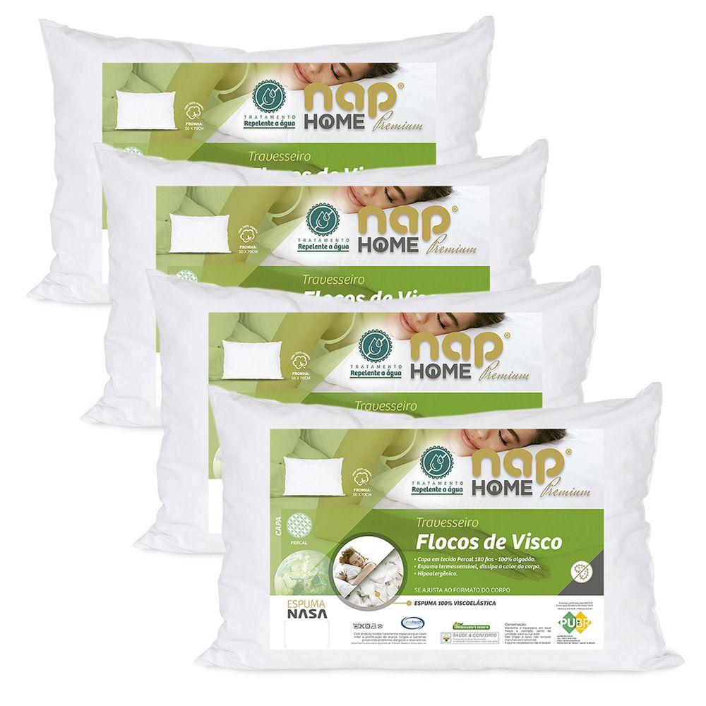 Kit 4 Travesseiros Nasa Premium Flocos de Visco Capa Impermeável - Nap Home