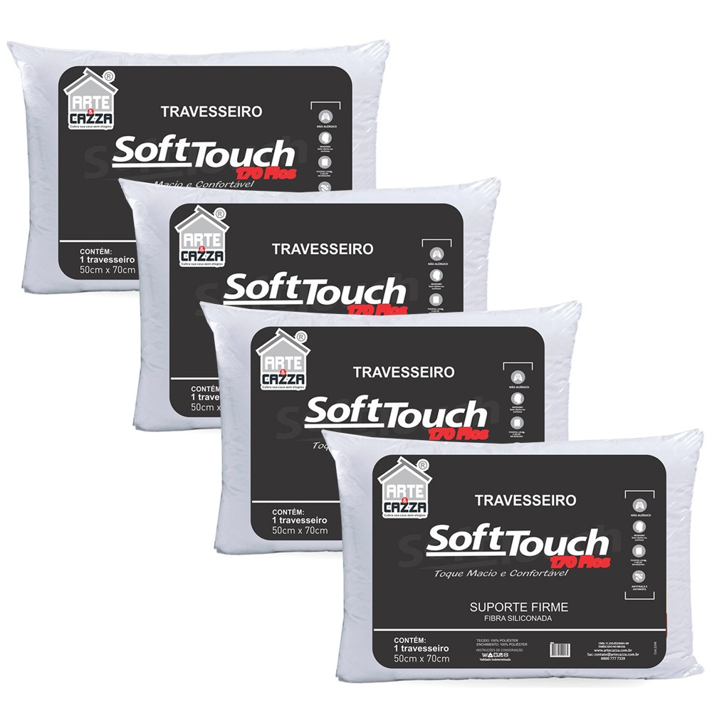 Kit 4 Travesseiros Soft Touch 170 fios - 50x70 Arte e Cazza