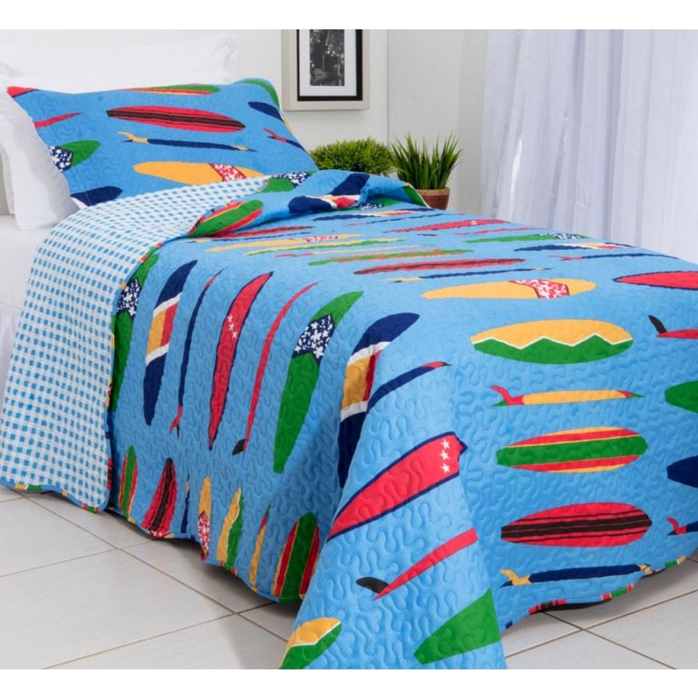 Kit Colcha Patchwork Teen Rozac Surf