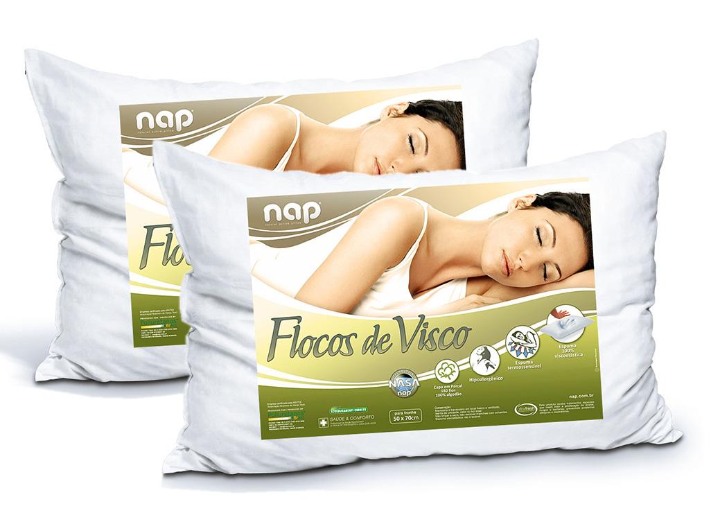 Kit Travesseiros Nasa Nap Flocos de Visco - 2 Peças
