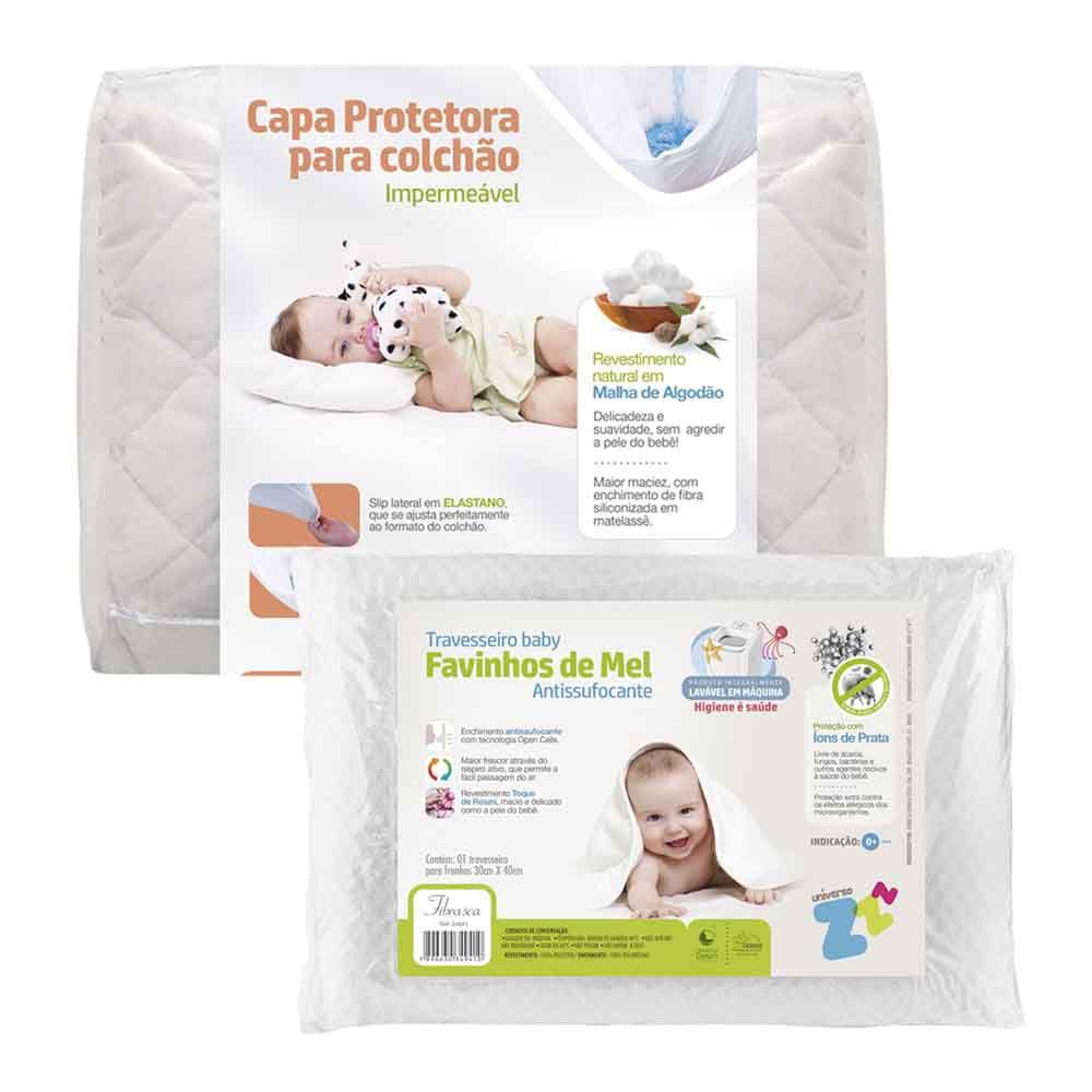 Kit 1 Protetor de Colchão Baby + 1 Travesseiro Favinhos de Mel