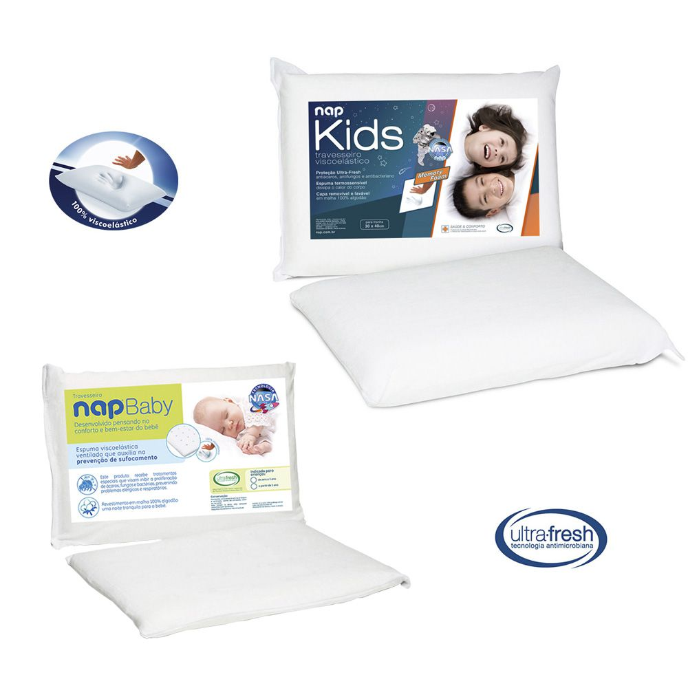 Kit Travesseiro Nasa Nap Baby RN + Nap Kids Viscoelástico