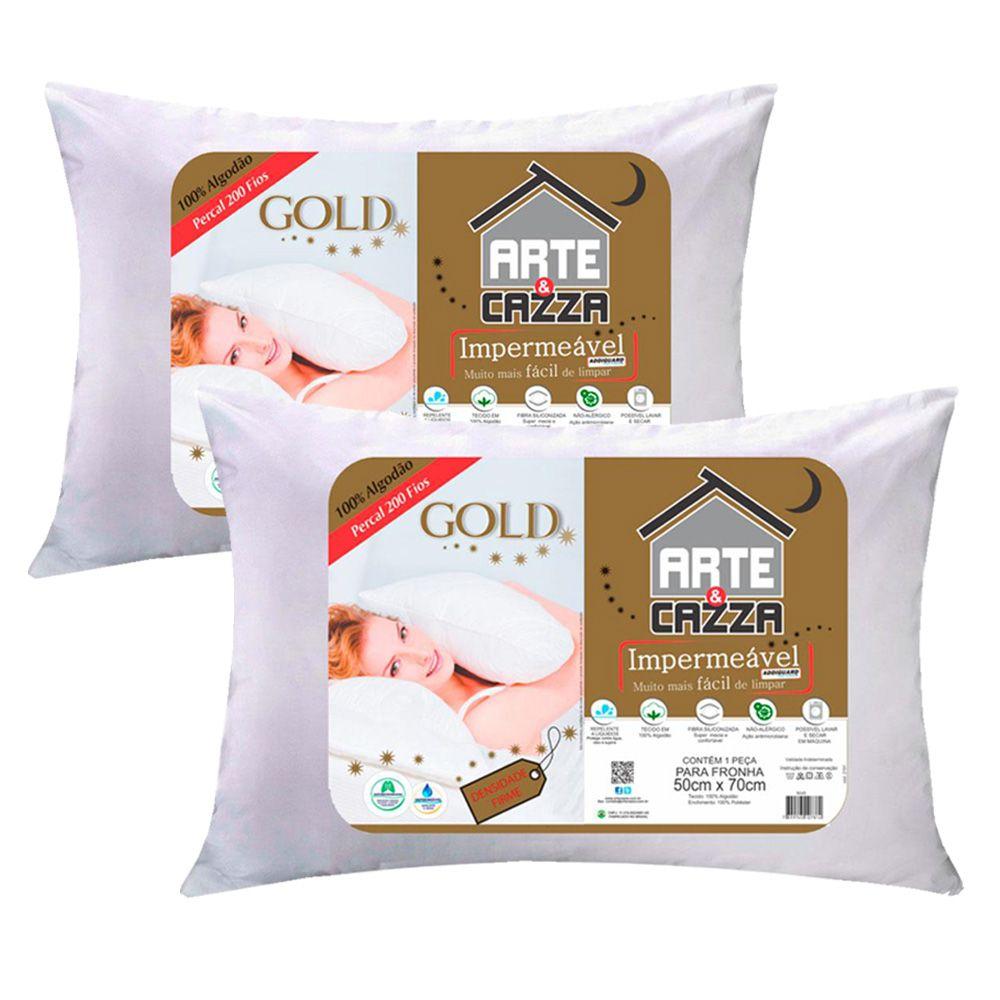 Kit Travesseiros Arte & Cazza Gold em Algodão 200 Fios Impermeável - 2 Peças