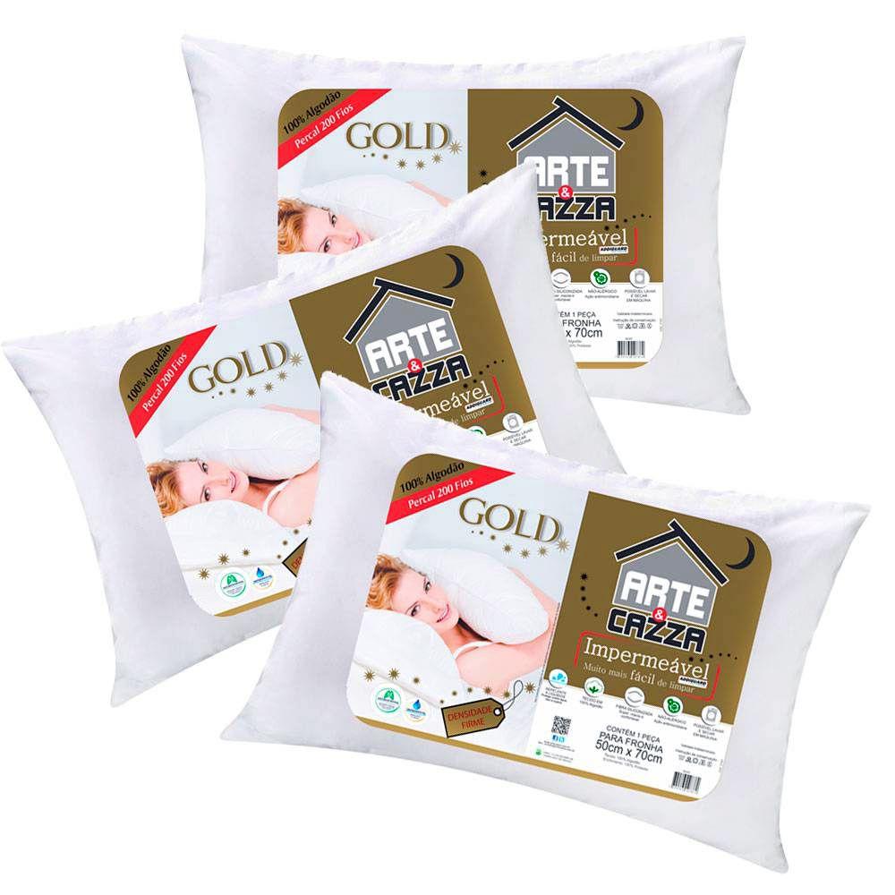 Kit Travesseiros Arte & Cazza Gold em Algodão 200 Fios Impermeável - 3 Peças