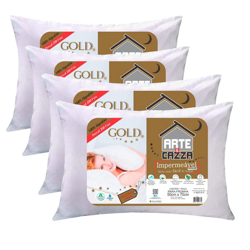 Kit Travesseiros Arte & Cazza Gold em Algodão 200 Fios Impermeável - 4 Peças