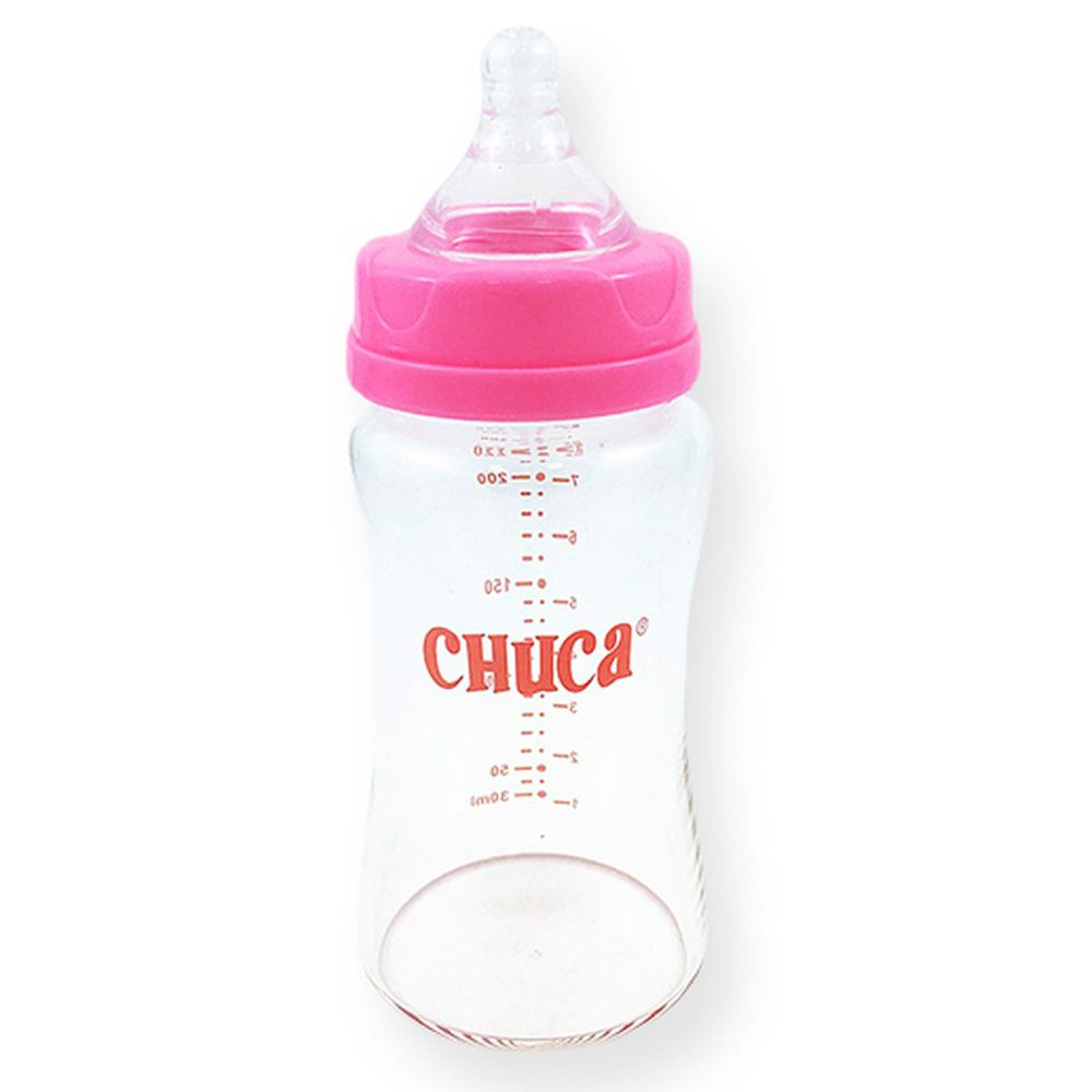 Mamadeira de Vidro 220ml com Bico de Silicone Chuca Baby