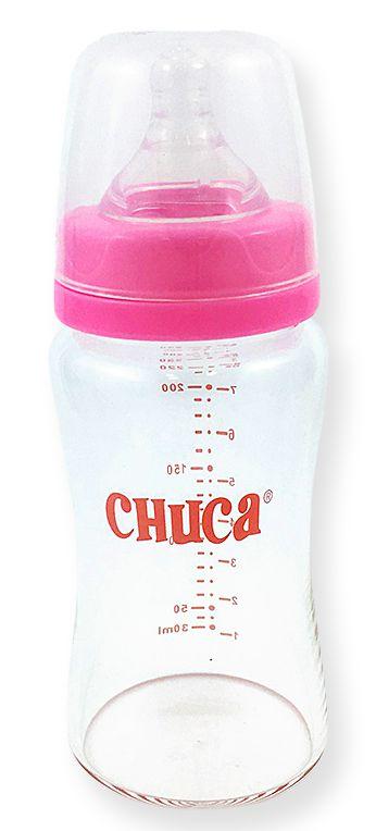 Mamadeira de Vidro 220ml com Bico de Silicone Chuca Baby - Rosa