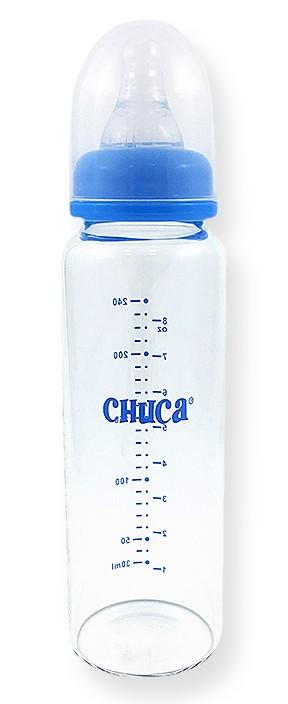 Mamadeira de Vidro 240ml com Bico de Silicone Chuca Baby - Azul