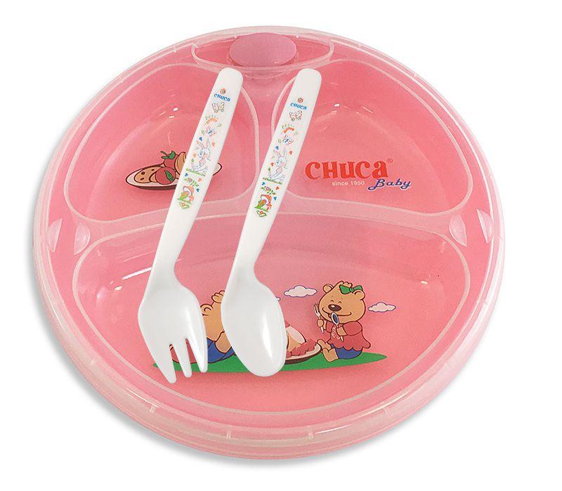 Prato Térmico Infantil de 3 Divisões com Ventosa Chuca Baby - Rosa
