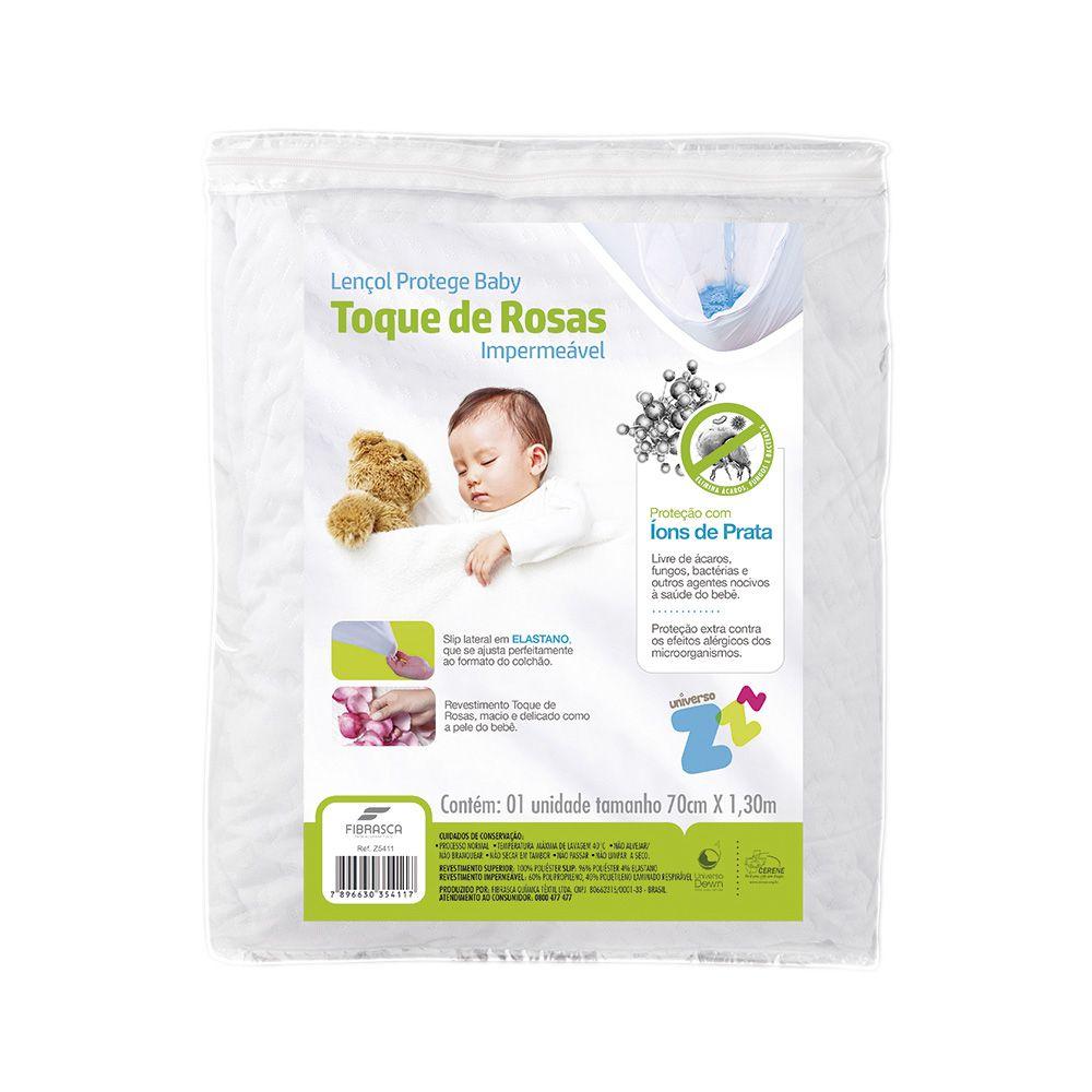 Protetor de colchão Toque de Rosas Baby impermeável 70x130cm - com tratamento íons de prata anti bactericida - Fibrasca