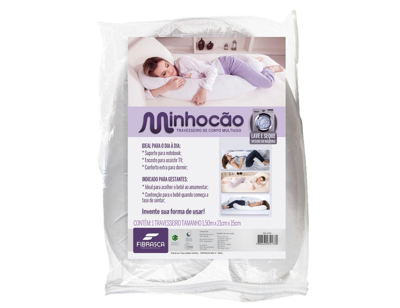 Travesseiro de Corpo Minhocão Multiuso Fibrasca