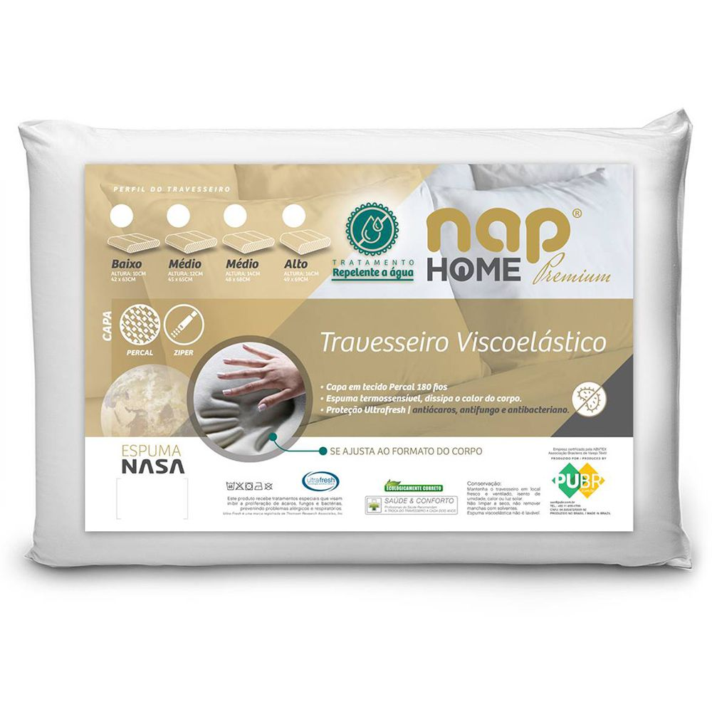 Travesseiro Nasa Premium Nap Home Capa Impermeável - Altura 16cm