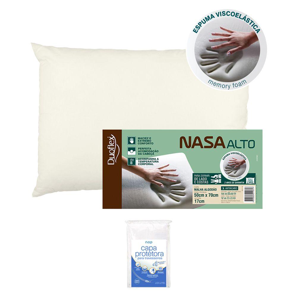Travesseiro NASA Alto Viscoelástico Duoflex 17cm + Capa Protetora Repelente a Líquidos