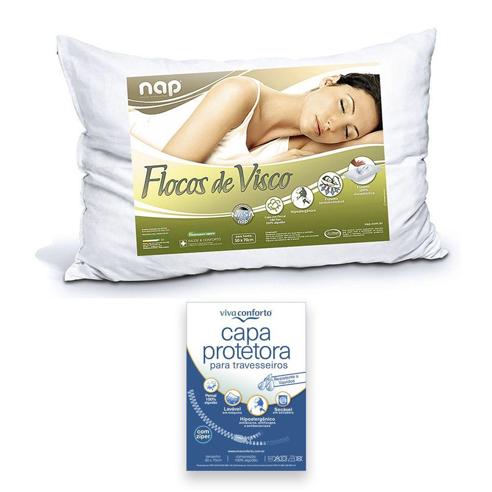 Travesseiro Nasa Nap Flocos De Visco + Capa Protetora Viva Conforto