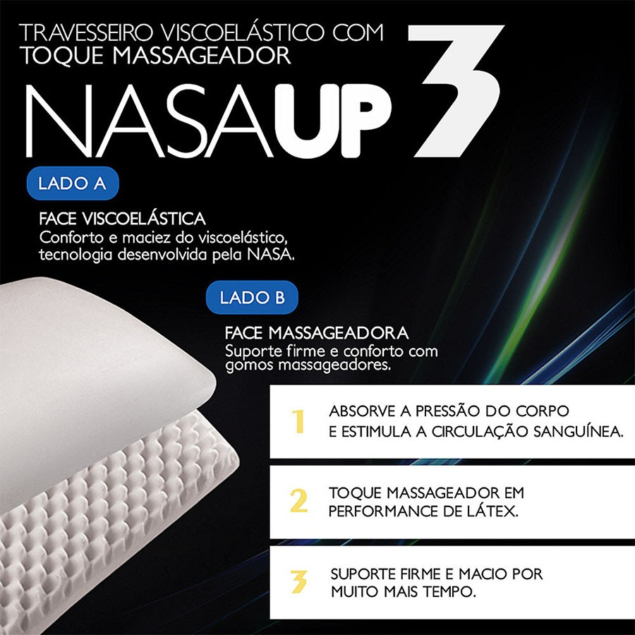Travesseiro Nasa Up3 Viscoelástico com gomos massageadores, Antiácaro - Fibrasca
