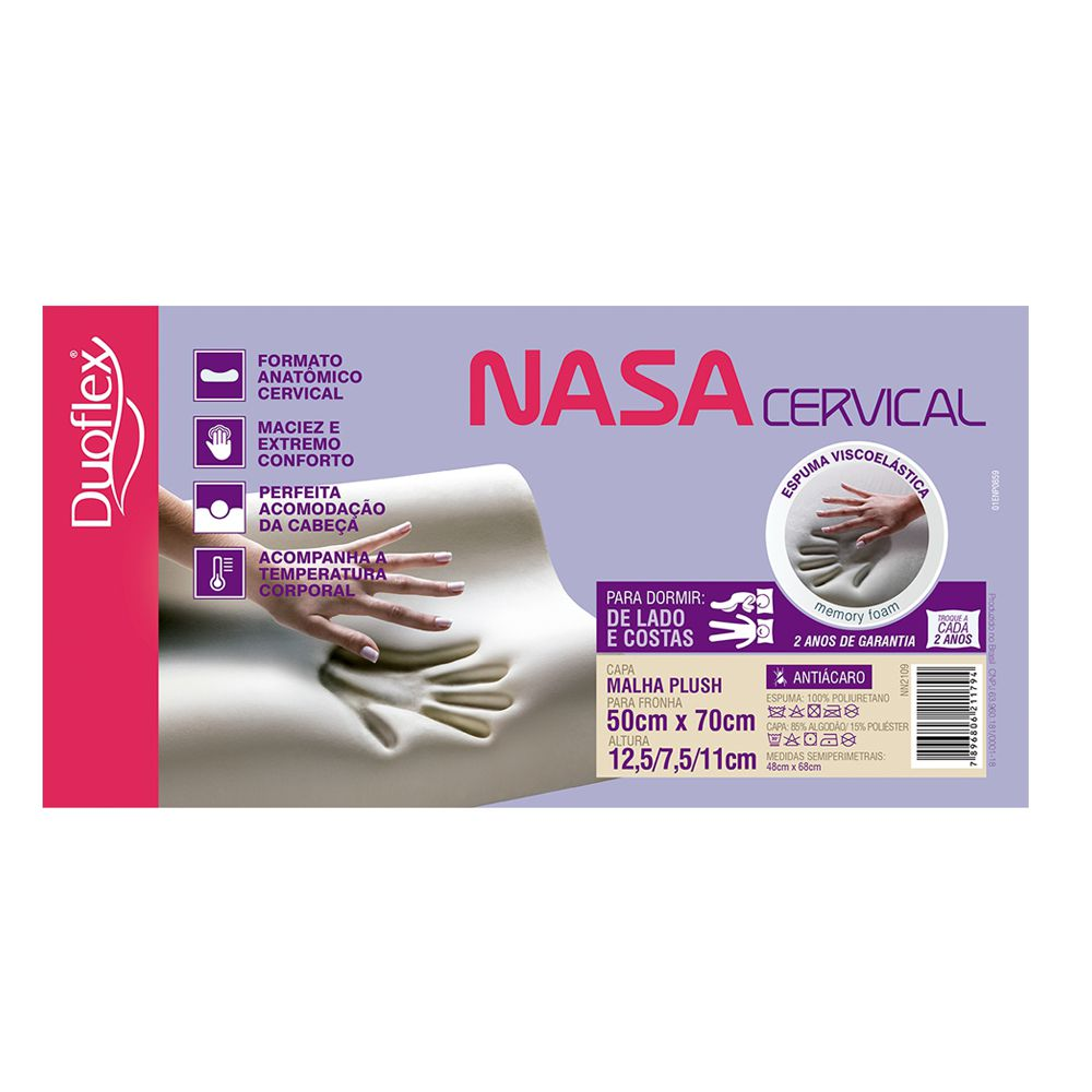 Travesseiro NASA Viscoelástico Cervical Duoflex