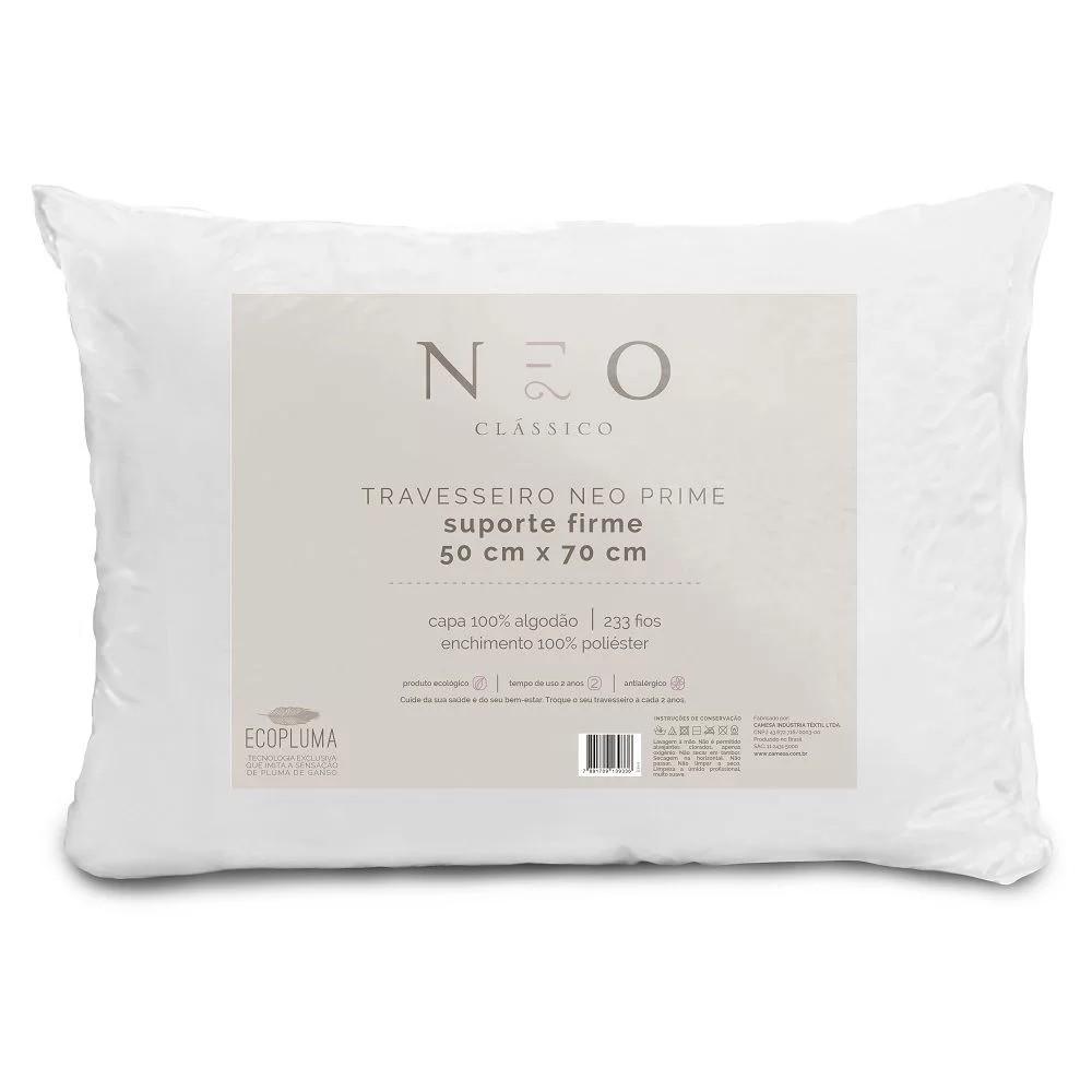 Travesseiro Neo Prime Ecopluma Algodão 233 fios Suporte Firme