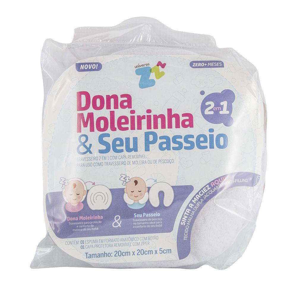 Travesseiro para moldar a cabeça do bebê Dona Moleirinha & Seu Passeio suporte confortável para moleira e travesseiro de pescoço infantil - Fibrasca