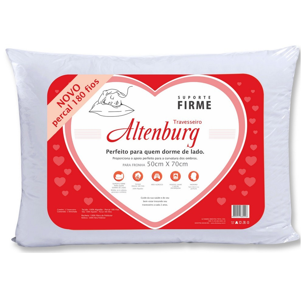 Travesseiro Suporte Firme Altenburg 50x70 Percal 180 fios