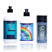 Kit Kamaleão Urso Polar 150ml, Diluidor Arco Íris 300ml e Matizador Azul 500ml