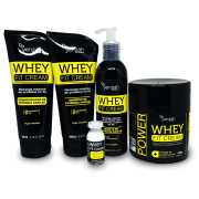 Kit Yenzah Whey Fit Cream - Shampoo, Condicionador, Leave-In, Mascara e Ampola